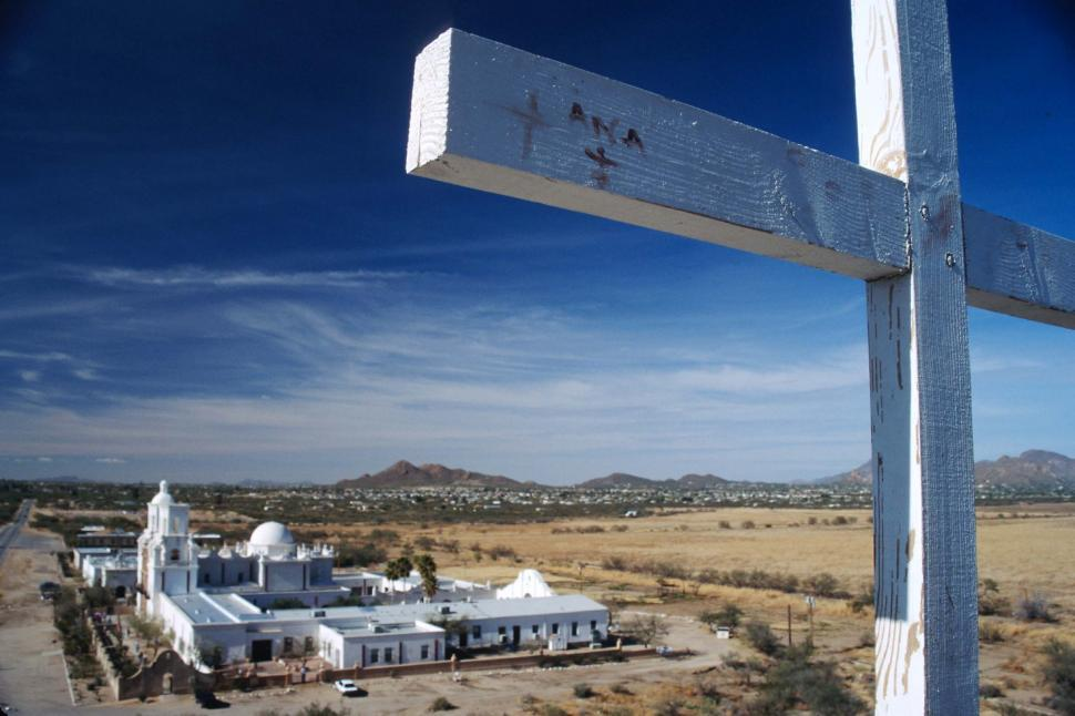 Download Free Stock HD Photo of Cross near Mission San Xavier Online