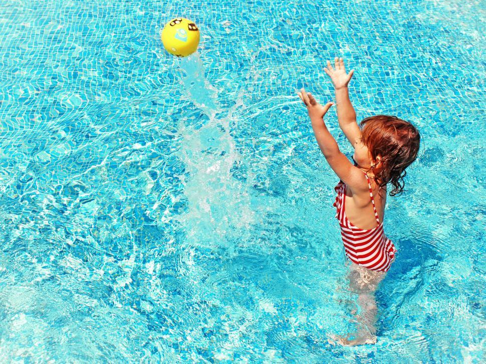 Download Free Stock HD Photo of Little Girl Playing with a Ball in the Swimming Pool Online