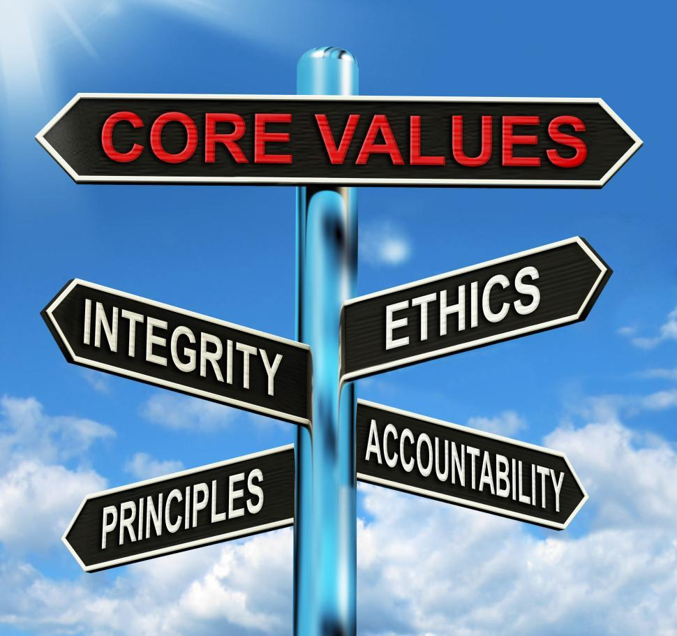 Download Free Stock HD Photo of Core Values Signpost Means Integrity Ethics Principals And Accou Online