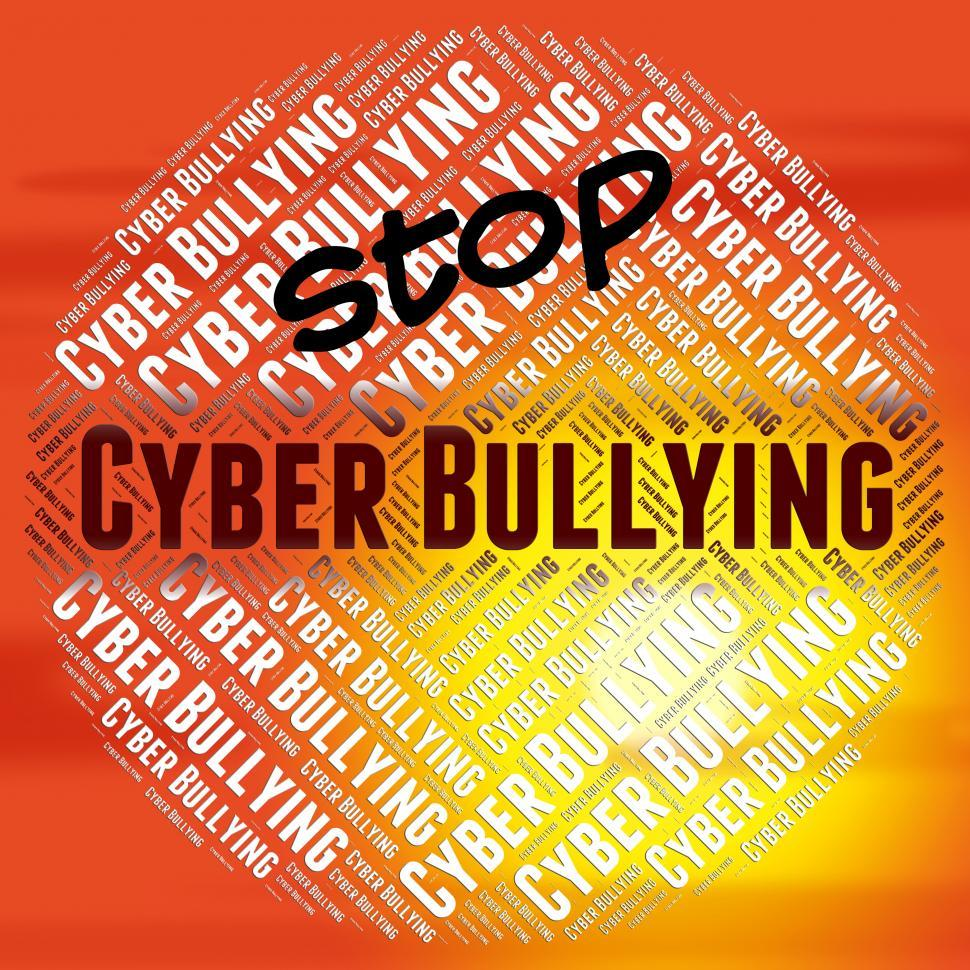 Download Free Stock HD Photo of Stop Cyber Bullying Indicates Warning Sign And Web Online