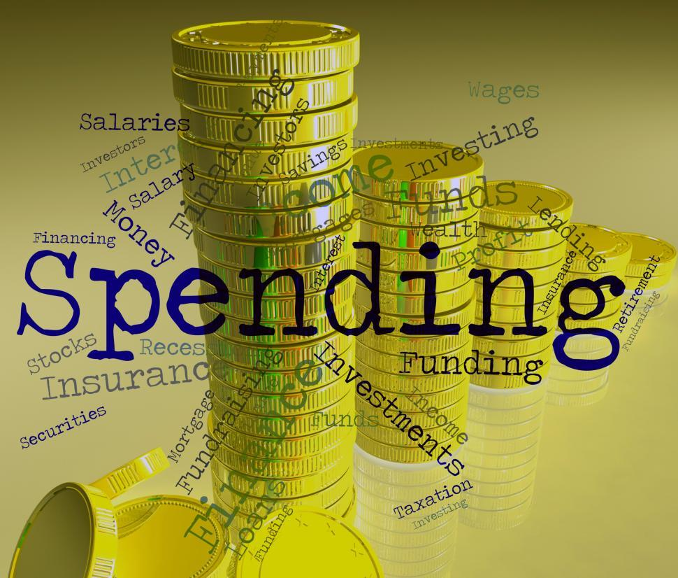 Download Free Stock HD Photo of Spending Word Shows Shopping Words And Bought Online