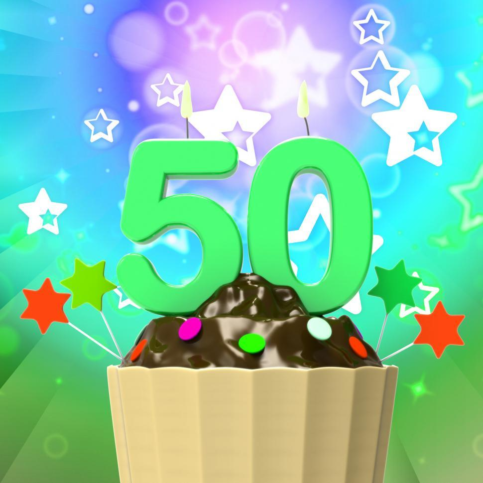 Download Free Stock HD Photo of Fifty Candle On Cupcake Means Special Celebration Or Colourful E Online