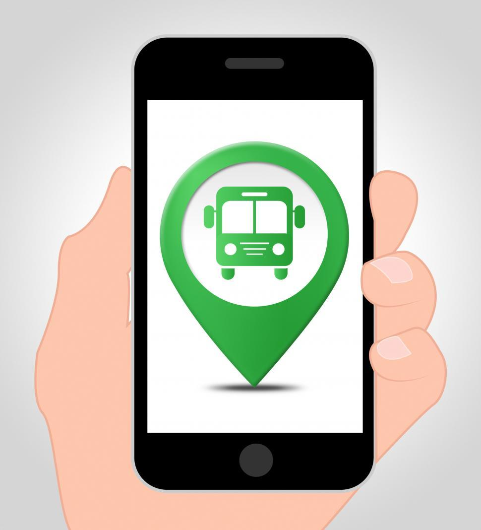 Download Free Stock HD Photo of Bus Location Online Indicates Mobile Phone Transport 3d Illustra Online
