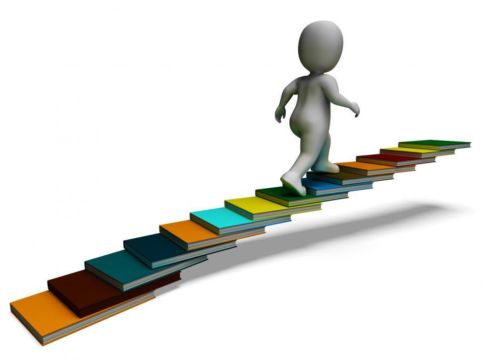 Download Free Stock HD Photo of Student Climbing Books Showing Education Online