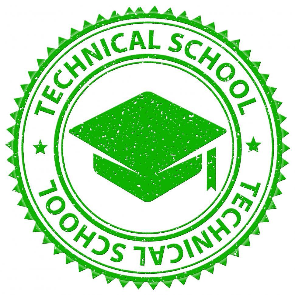 Download Free Stock HD Photo of Technical School Shows Stamp Print And Stamped Online