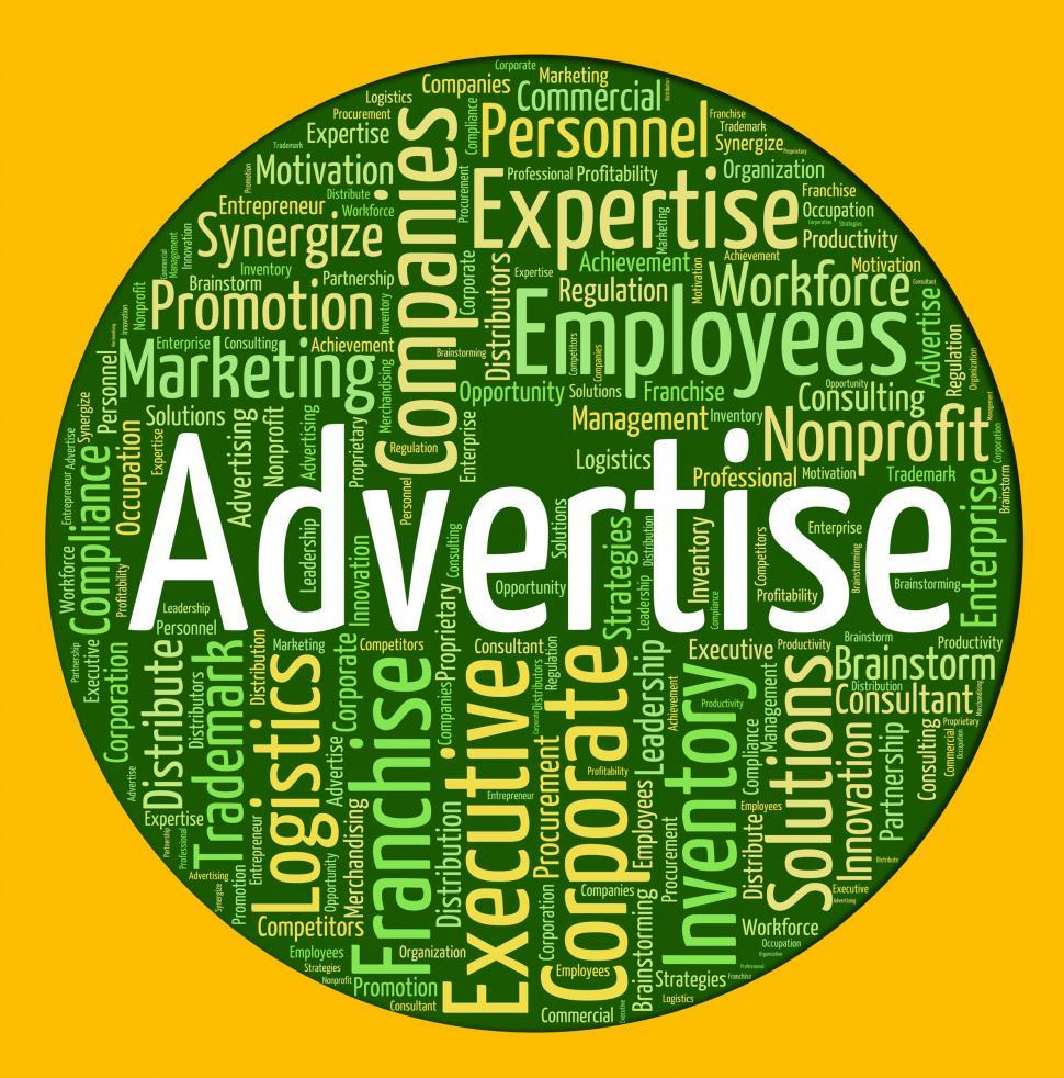 Download Free Stock HD Photo of Advertise Word Shows Promote Ads And Wordcloud Online