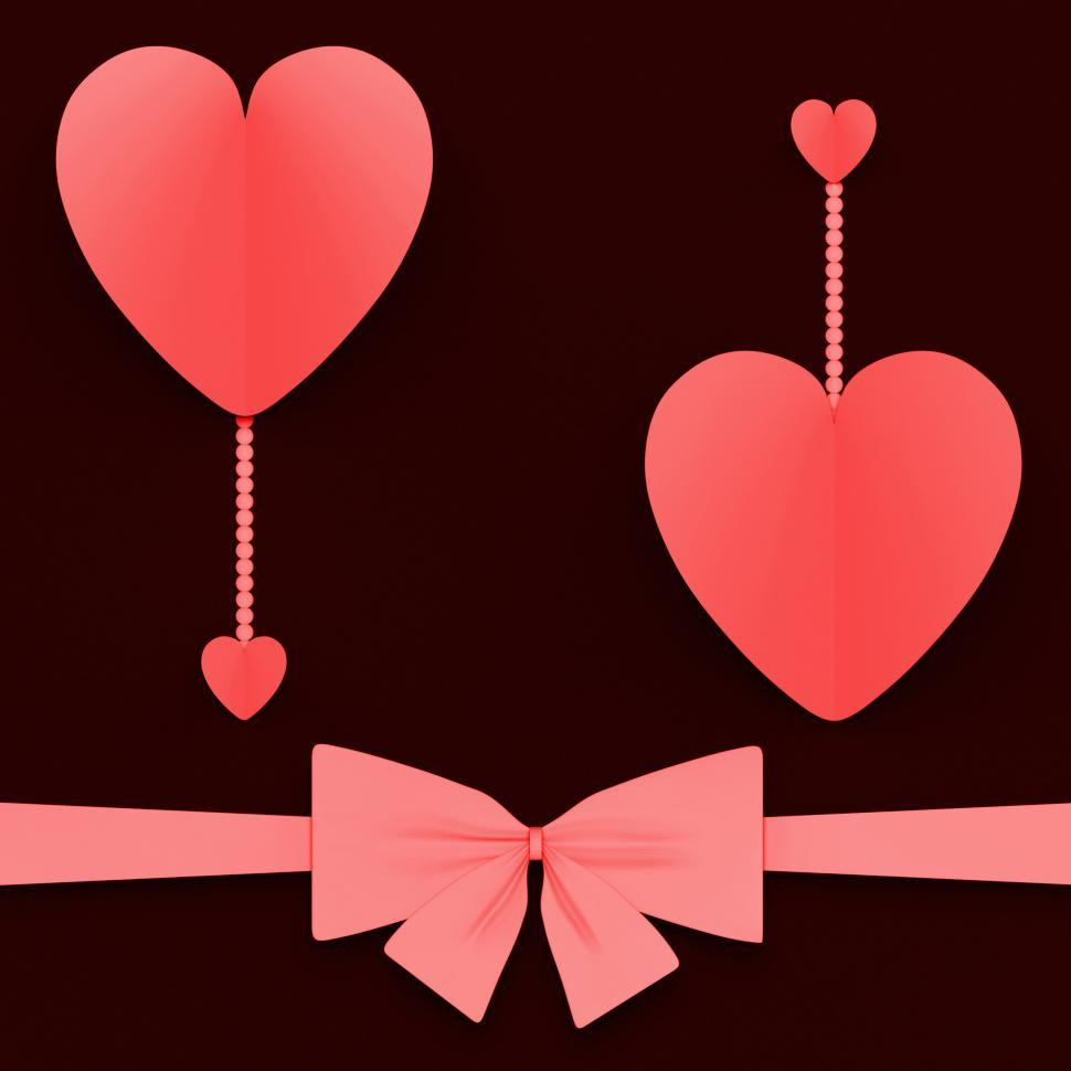 Download Free Stock HD Photo of Two Hearts With Bow Mean Lovely Surprise Or Romantic Gift Online