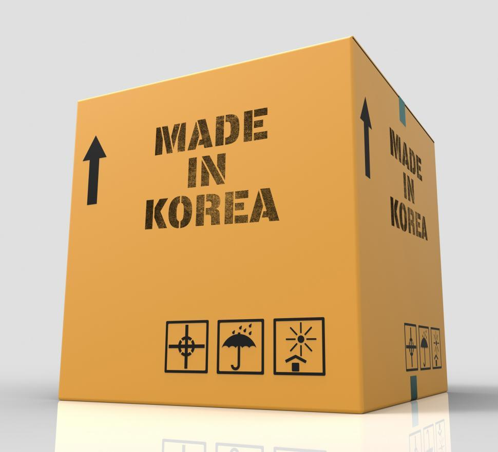 Download Free Stock HD Photo of Made In Korea Represents Trade Production And Parcel 3d Renderin Online