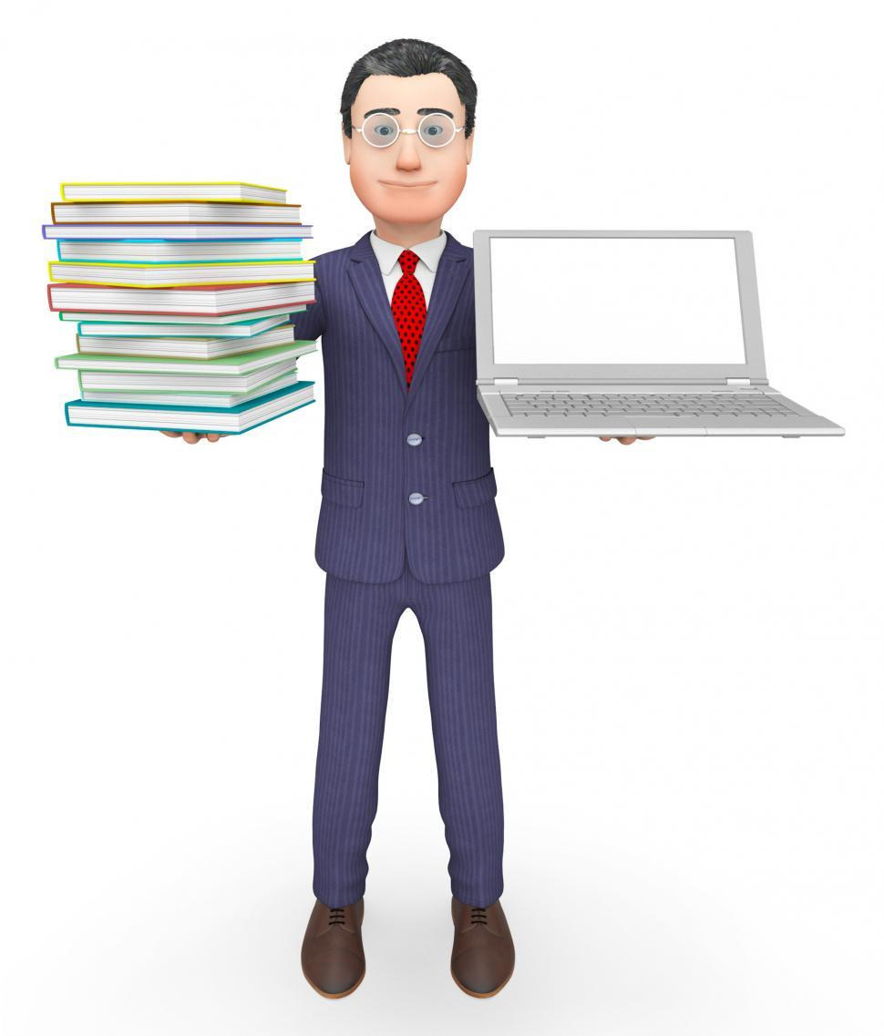 Download Free Stock HD Photo of Books Businessman Shows Stack Knowledge And Internet 3d Renderin Online