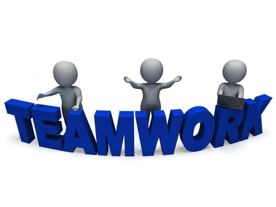 Download Free Stock HD Photo of Teamwork Shows 3d Characters Working Together Online