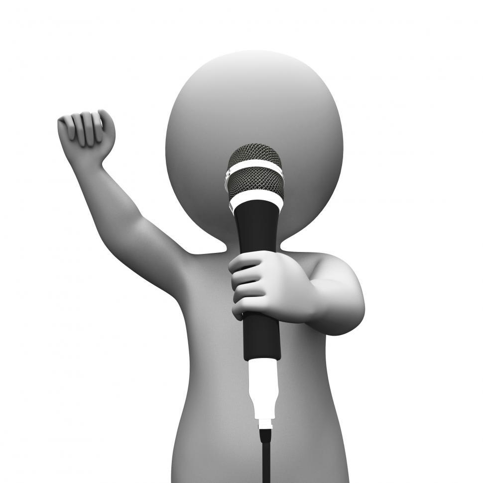 Download Free Stock HD Photo of Singer Singing Character Shows Music Or Karaoke Concert Online