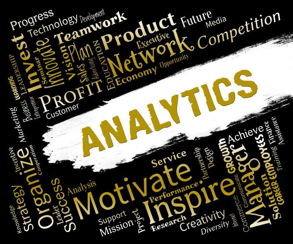 Download Free Stock HD Photo of Analytics Words Means Reporting Collecting And Measuring Online
