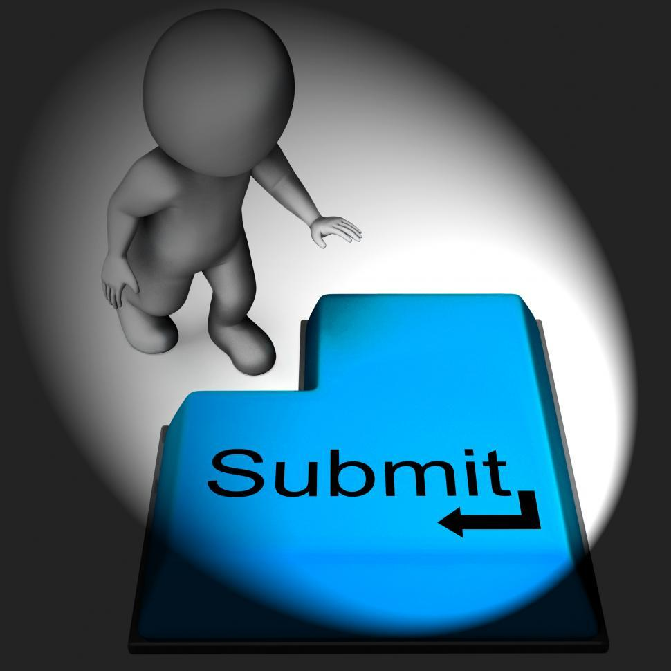 Download Free Stock HD Photo of Submit Keyboard Shows Submitting Or Applying On Internet Online