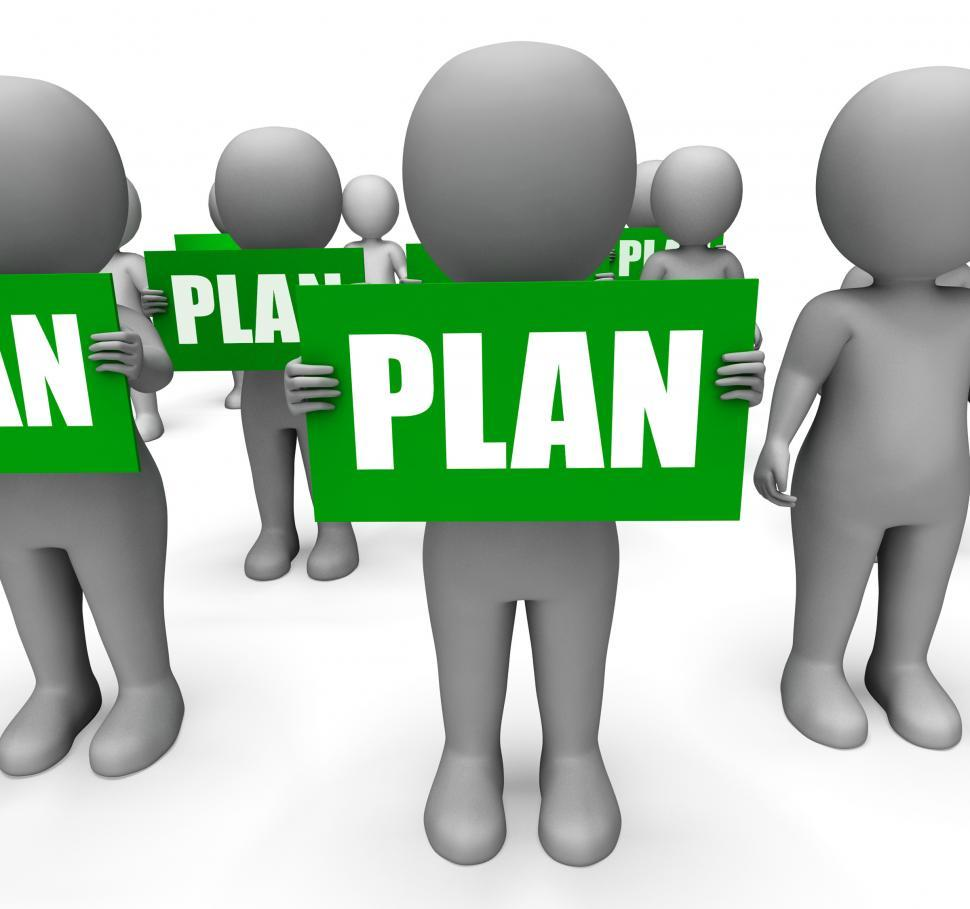 Download Free Stock HD Photo of Characters Holding Plan Signs Show Objectives And Plans Online