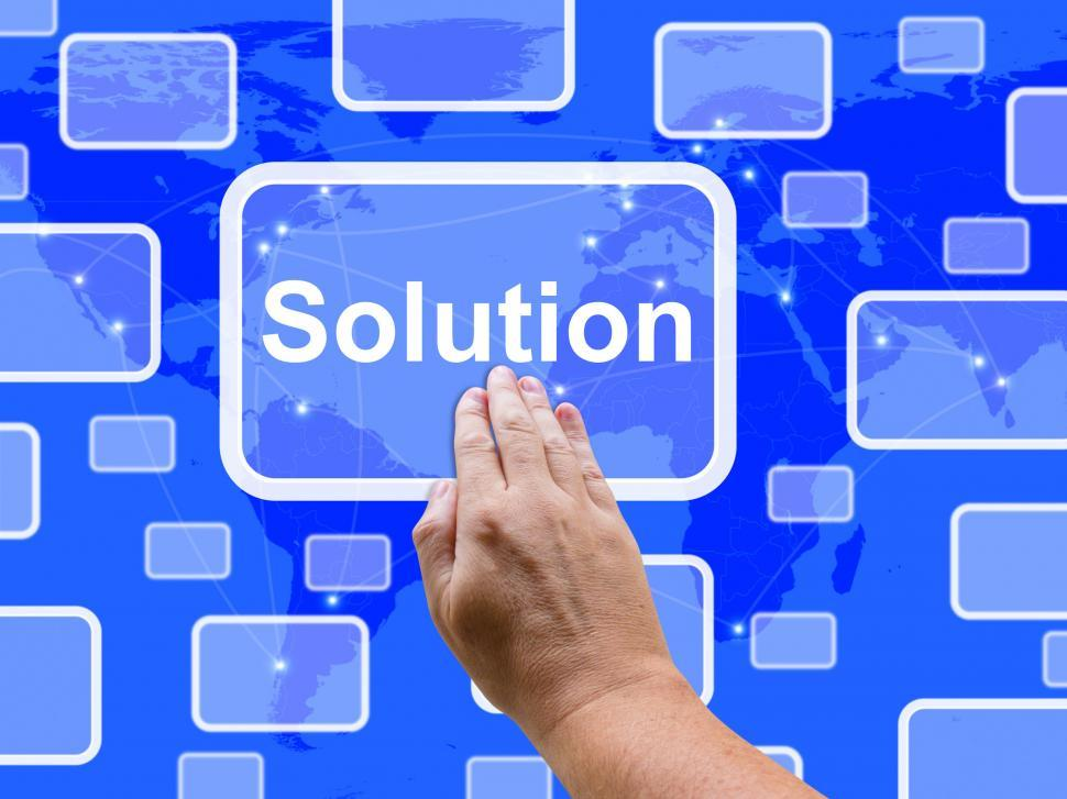 Download Free Stock HD Photo of Solution Touch Screen Shows Achievement Resolution Solving And S Online