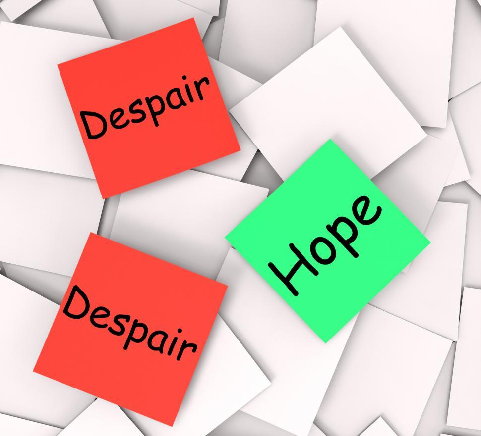 Download Free Stock HD Photo of Hope Despair Post-It Notes Show Hoping Or Depression Online
