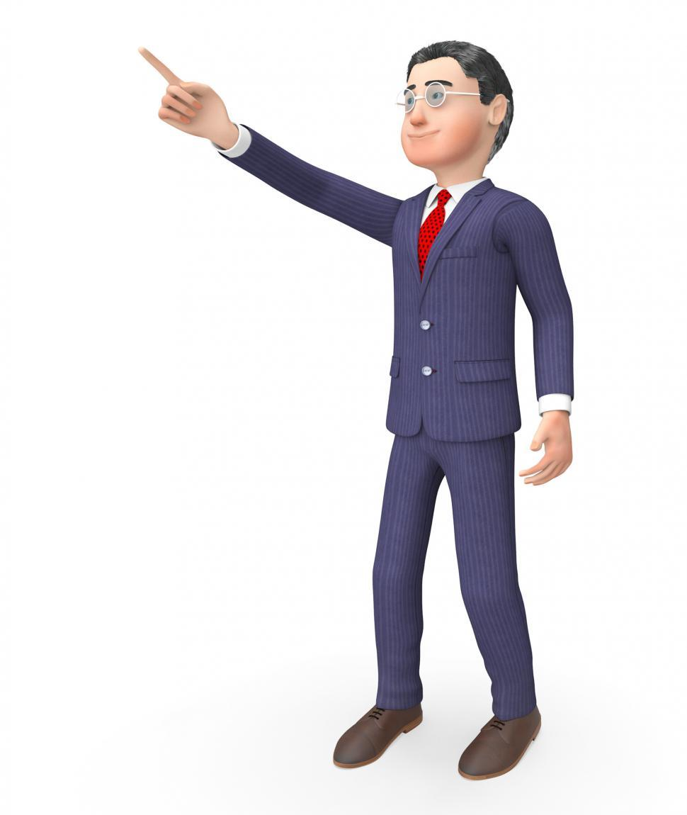 Download Free Stock HD Photo of Pointing Character Means Hand Up And Commercial 3d Rendering Online