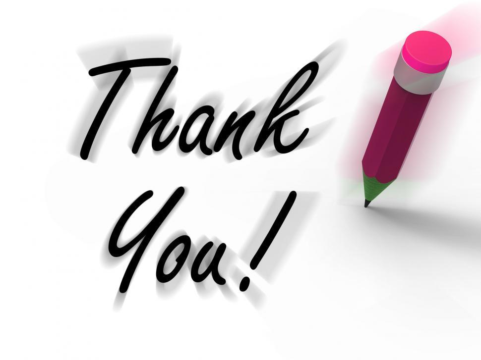 Download Free Stock HD Photo of Thank You Sign with Pencil Displays Written Acknowledgement Online