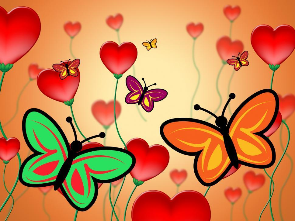 Download Free Stock HD Photo of Heart Butterflies Represents Valentine Day And Butterfly Online