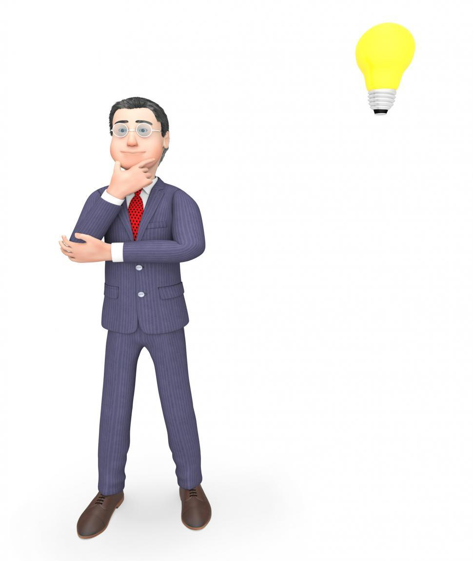 Download Free Stock HD Photo of Character Thinking Indicates Power Source And Business 3d Render Online