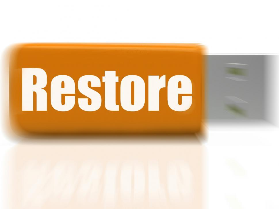 Download Free Stock HD Photo of Restore USB drive Shows Data Security And Restoration Online