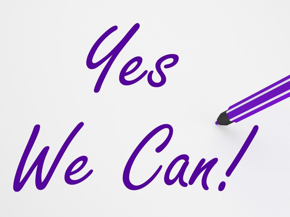 Download Free Stock HD Photo of Yes We Can! On Whiteboard Shows Teamwork And Success Online
