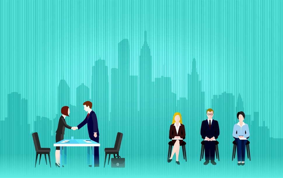 Download Free Stock HD Photo of Job Interview - Multiple Applicants with Copyspace Online