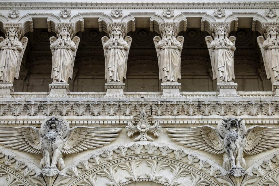 Download Free Stock HD Photo of Statuary at the Lyon Cathedral Online