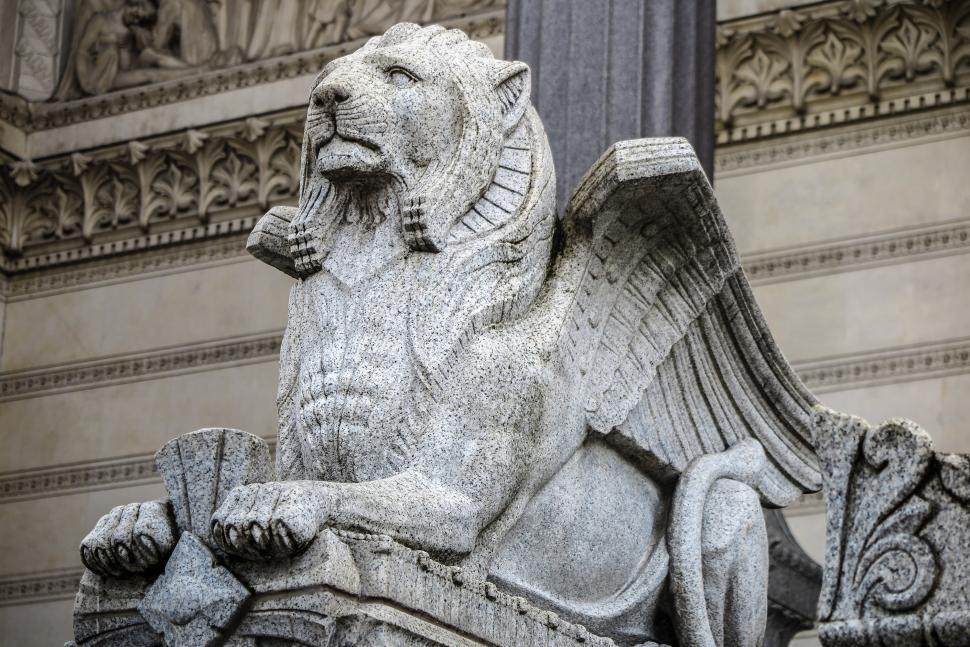 Download Free Stock HD Photo of Carved winged lion Online