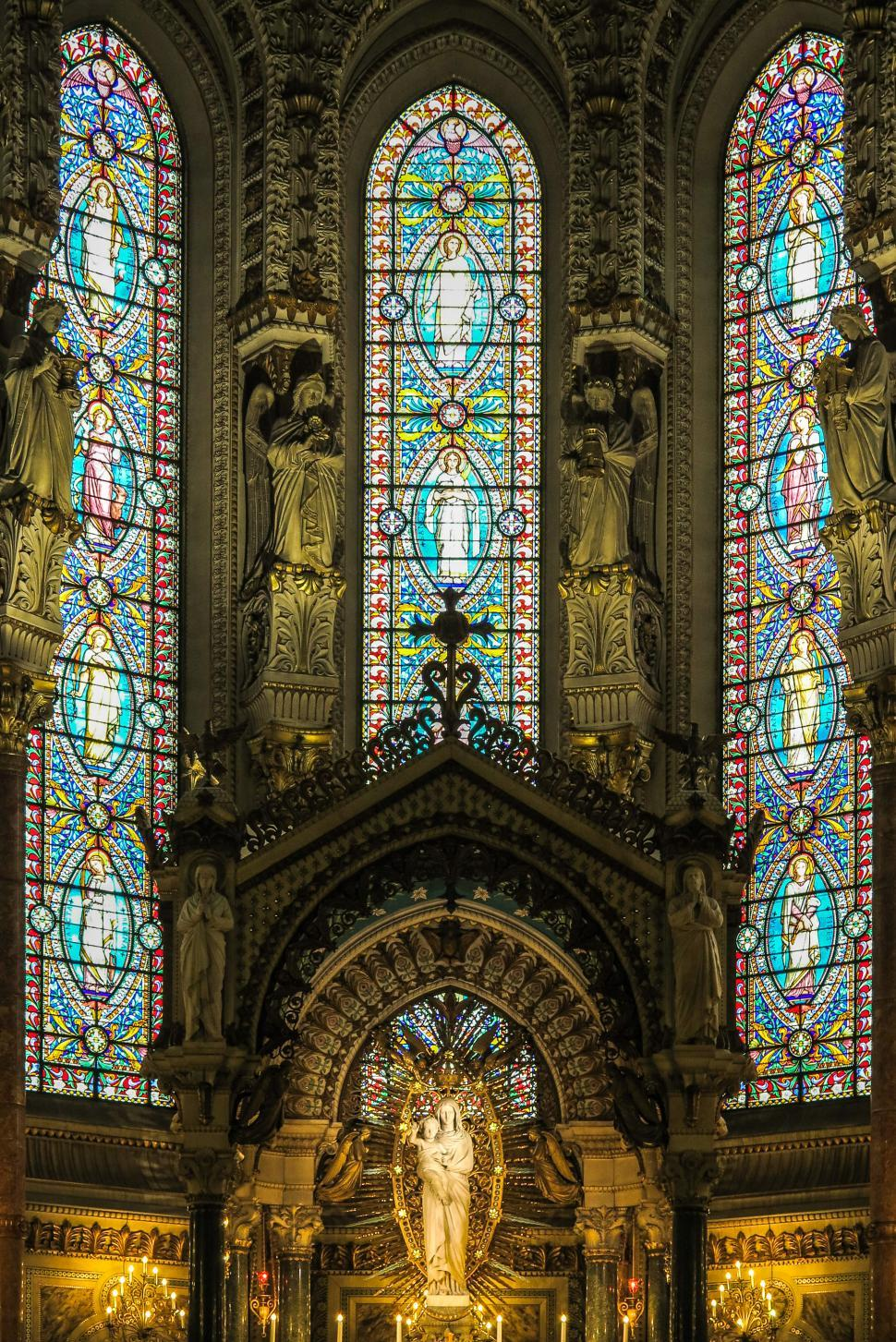 Download Free Stock HD Photo of Stained Glass in Lyon Cathedral Online