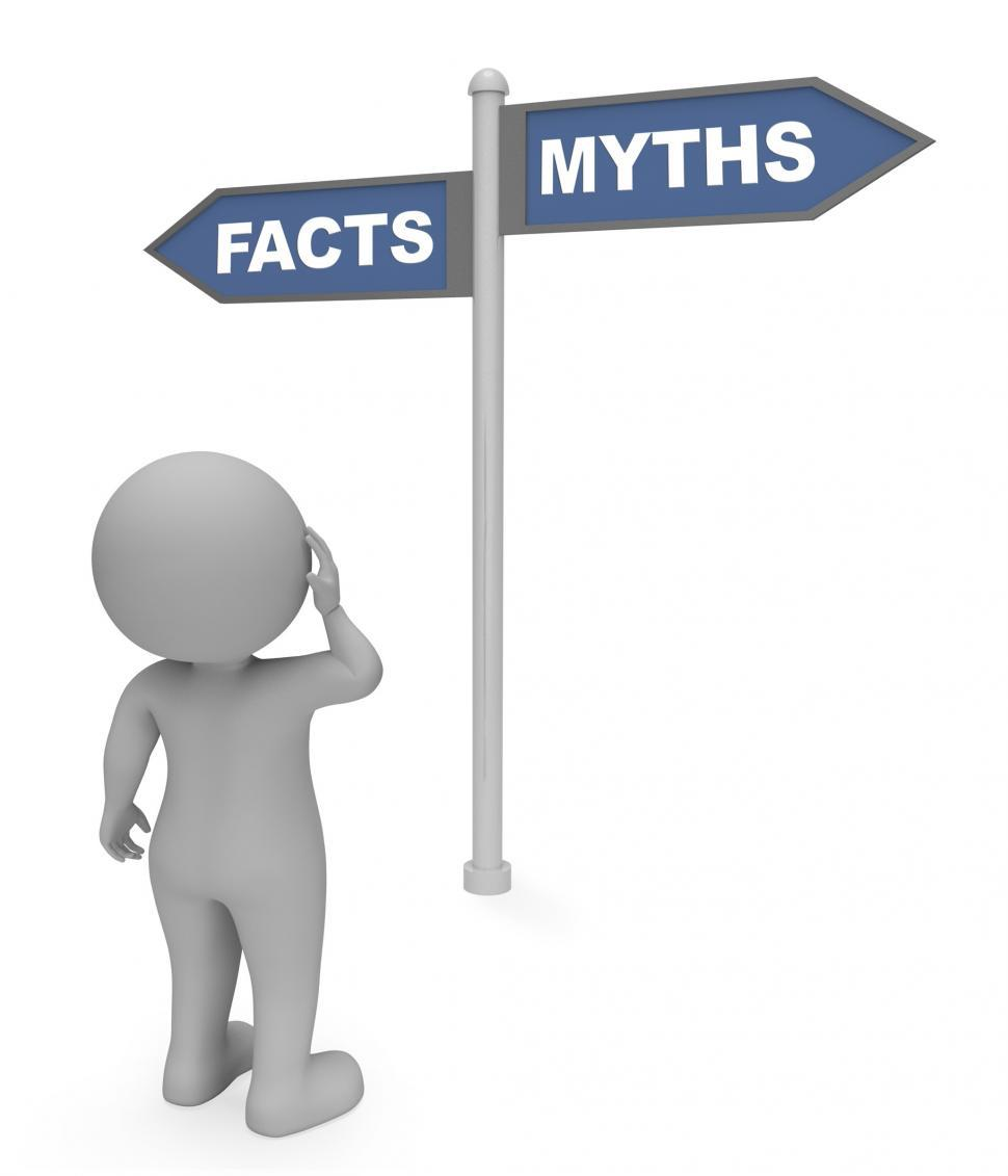 Download Free Stock HD Photo of Facts Myths Sign Means Mythology Untruth And Knowledge 3d Render Online