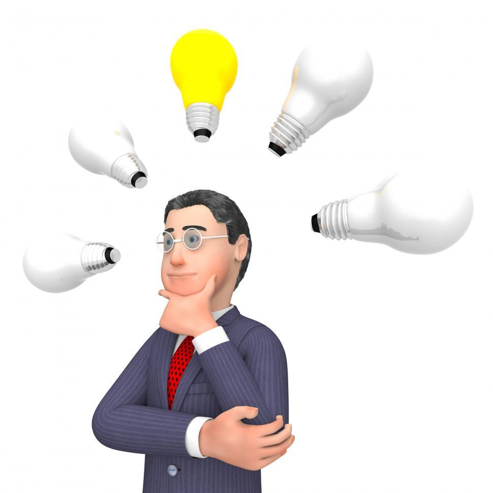 Download Free Stock HD Photo of Lightbulbs Businessman Indicates Power Sources And Character 3d  Online
