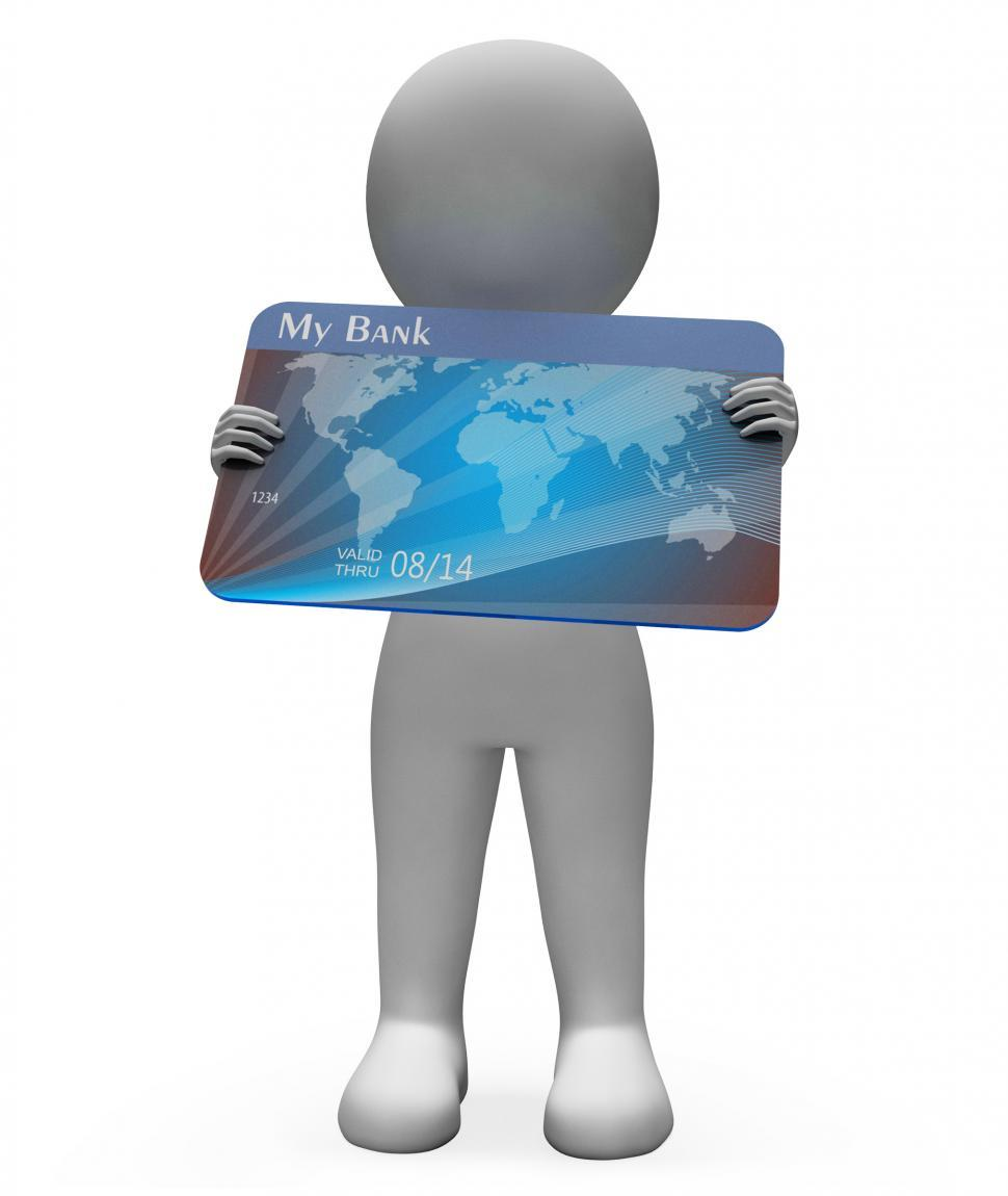 Download Free Stock HD Photo of Debit Card Shows Credit Cards And Bank 3d Rendering Online