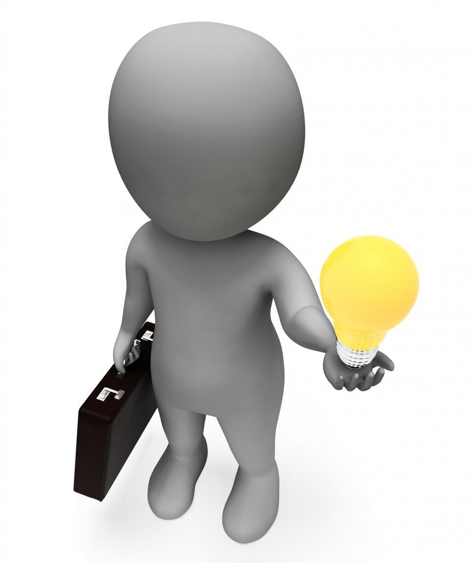 Download Free Stock HD Photo of Lightbulb Idea Represents Business Person And Character 3d Rende Online