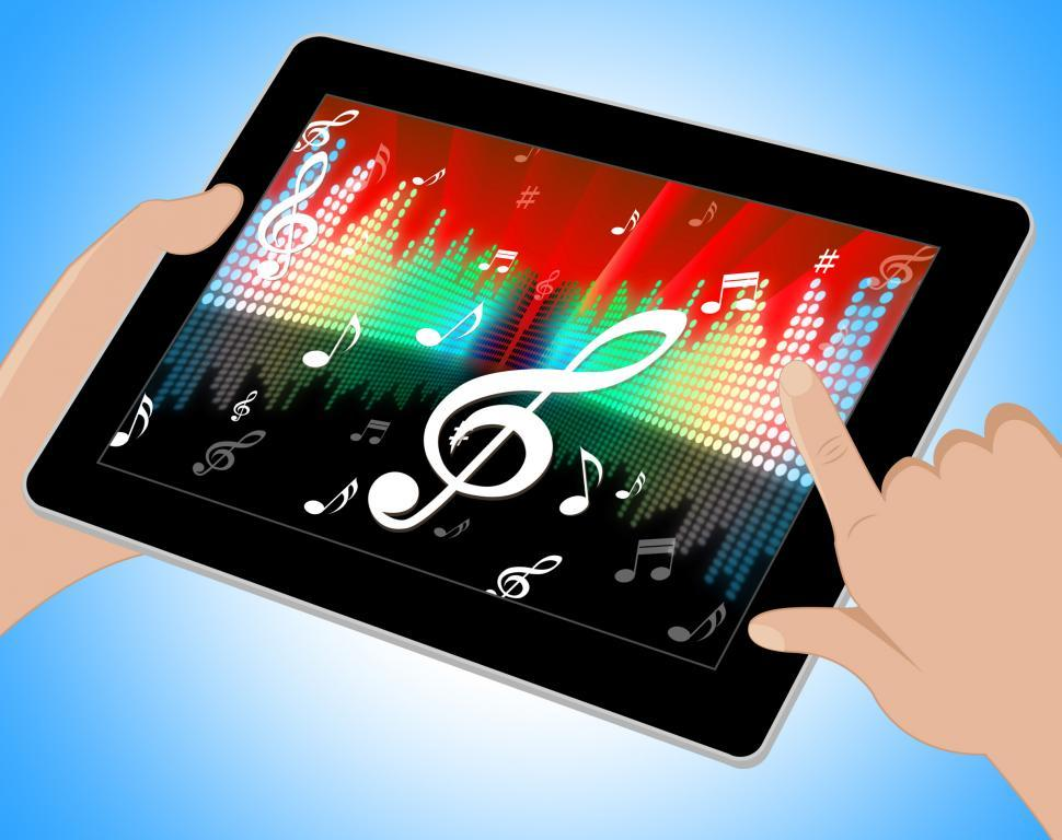 Download Free Stock HD Photo of Notes Equaliser Represents Sound Track And Abstract Tablet Online