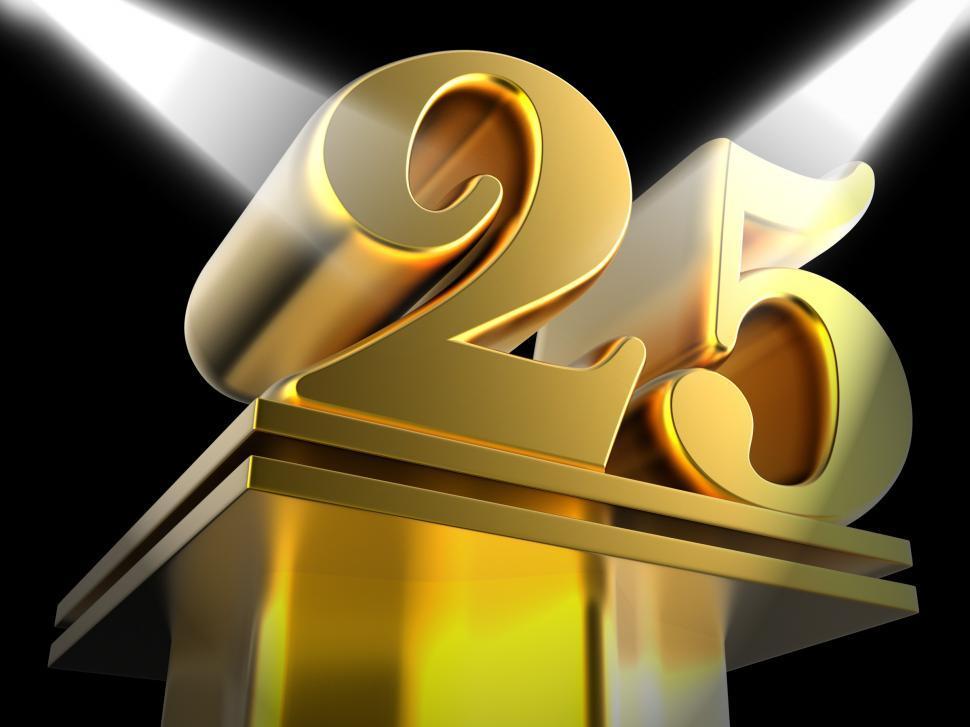 Download Free Stock HD Photo of Golden Twenty Five On Pedestal Shows Twenty Fifth Movie Annivers Online