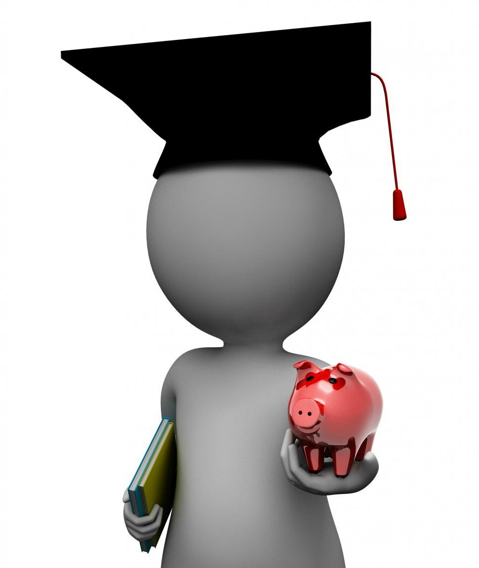 Download Free Stock HD Photo of Education Savings Shows Piggy Bank And Rich 3d Rendering Online