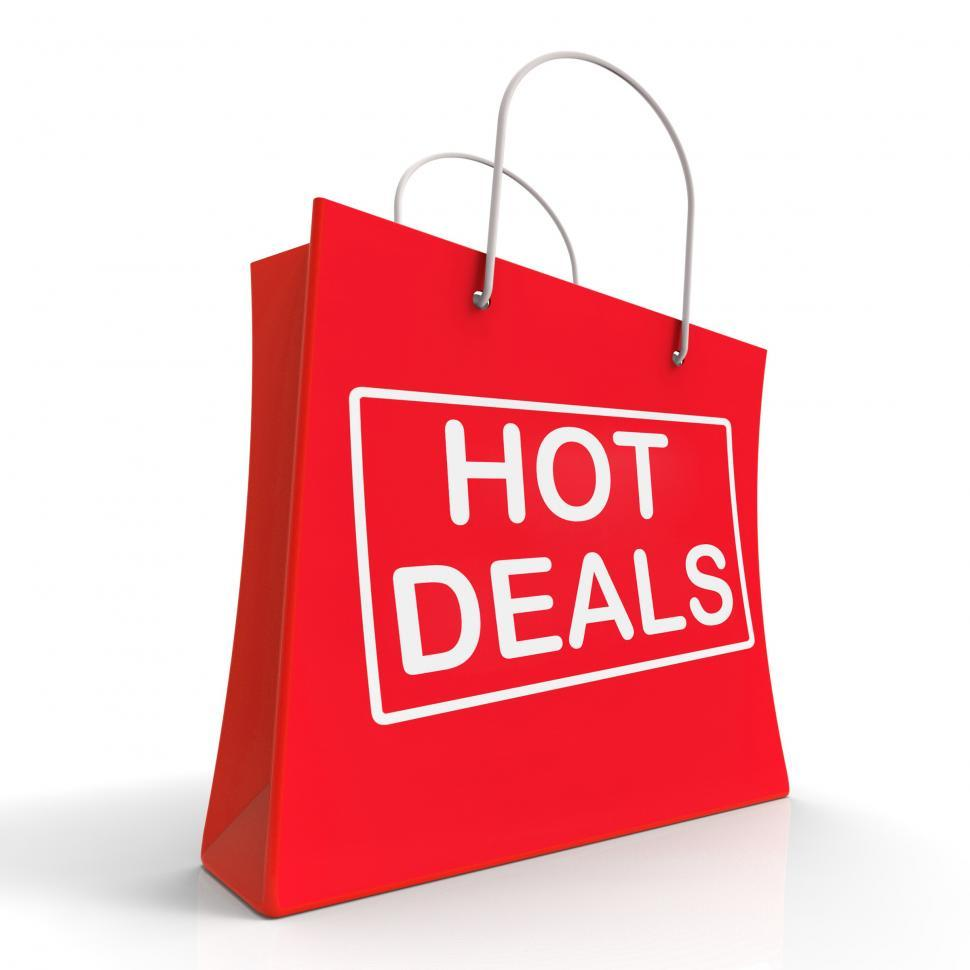 Download Free Stock HD Photo of Hot Deals On Shopping Bags Shows Bargains Sale And Save Online