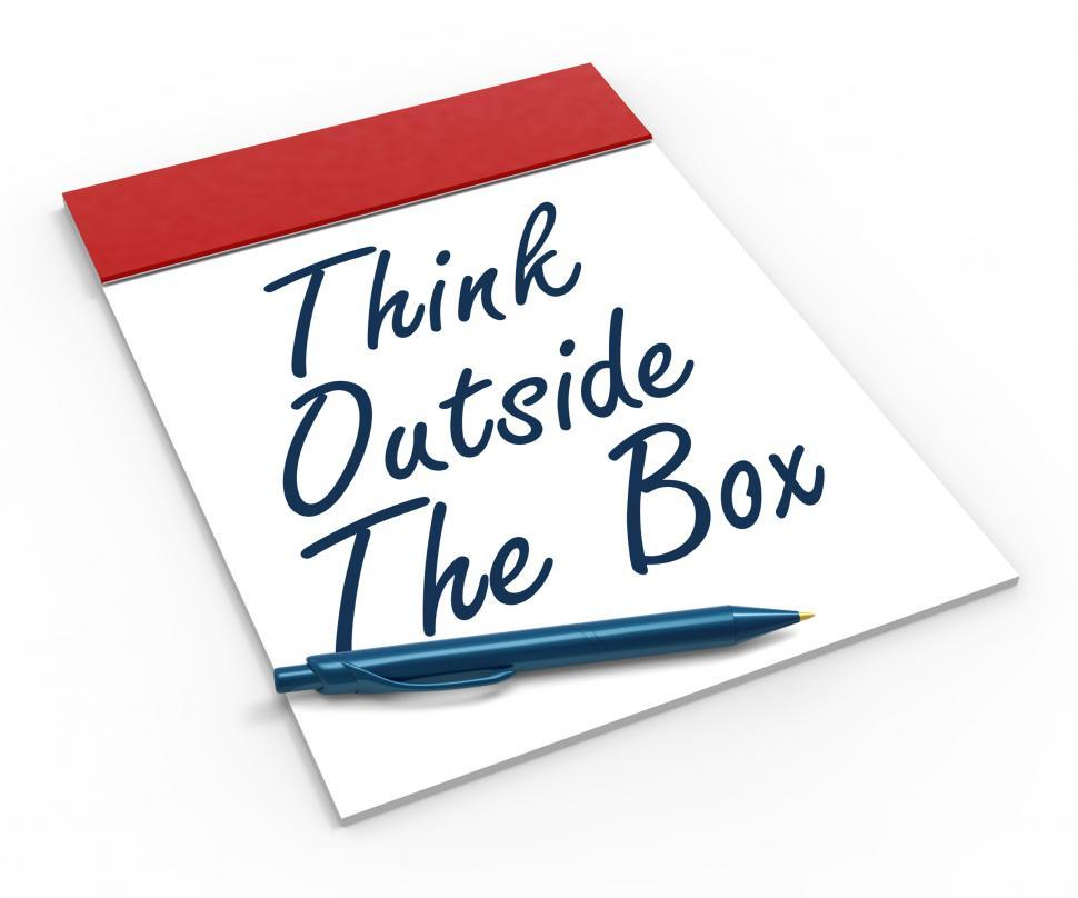 Download Free Stock HD Photo of Think Outside The Box Notebook Means Creativity Or Brainstorming Online