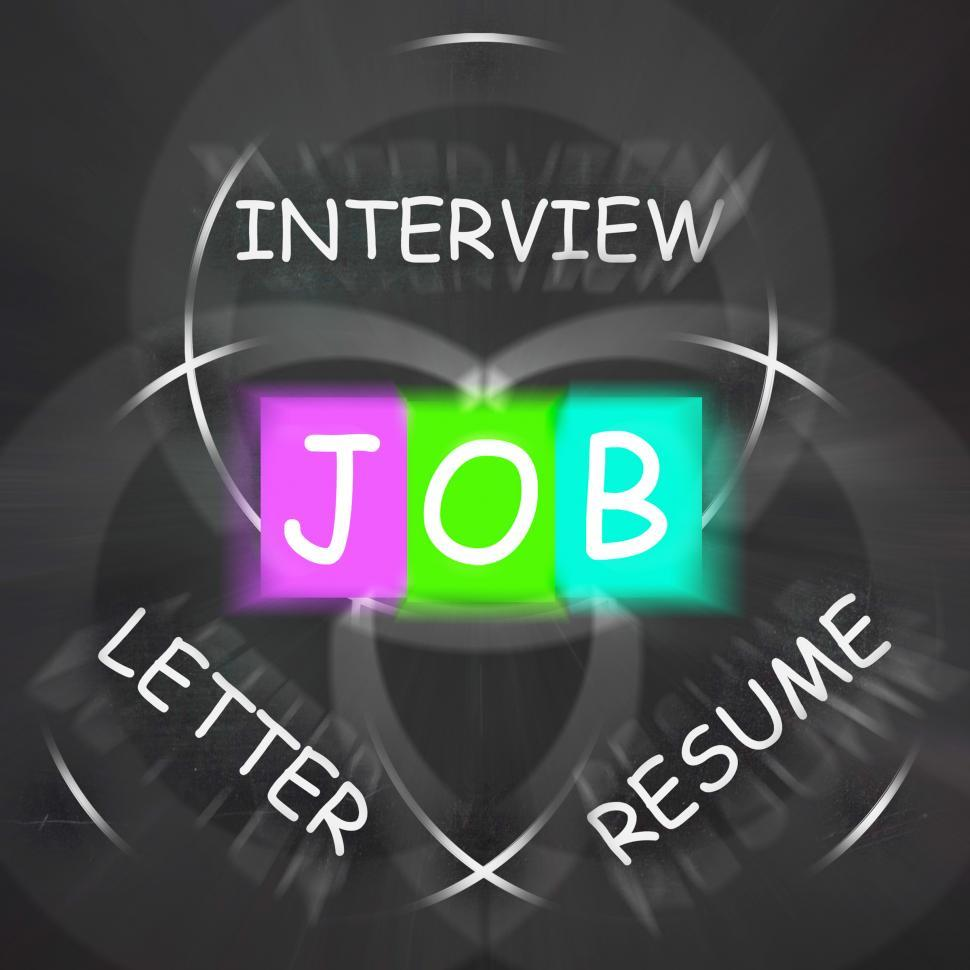 Download Free Stock HD Photo of JOB On Blackboard Displays Work Interview Or Resume Online