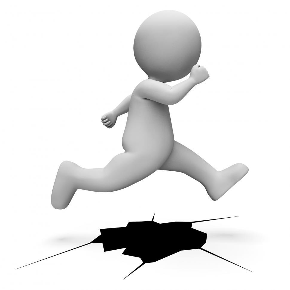 Download Free Stock HD Photo of Character Jump Means Difficult Situation And Achievement 3d Rend Online