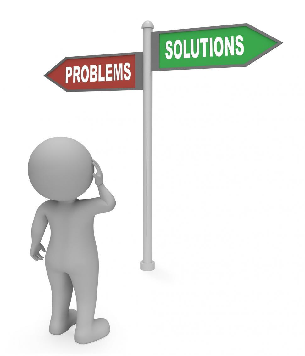 Download Free Stock HD Photo of Problems Solutions Sign Means Difficult Situation And Complicati Online