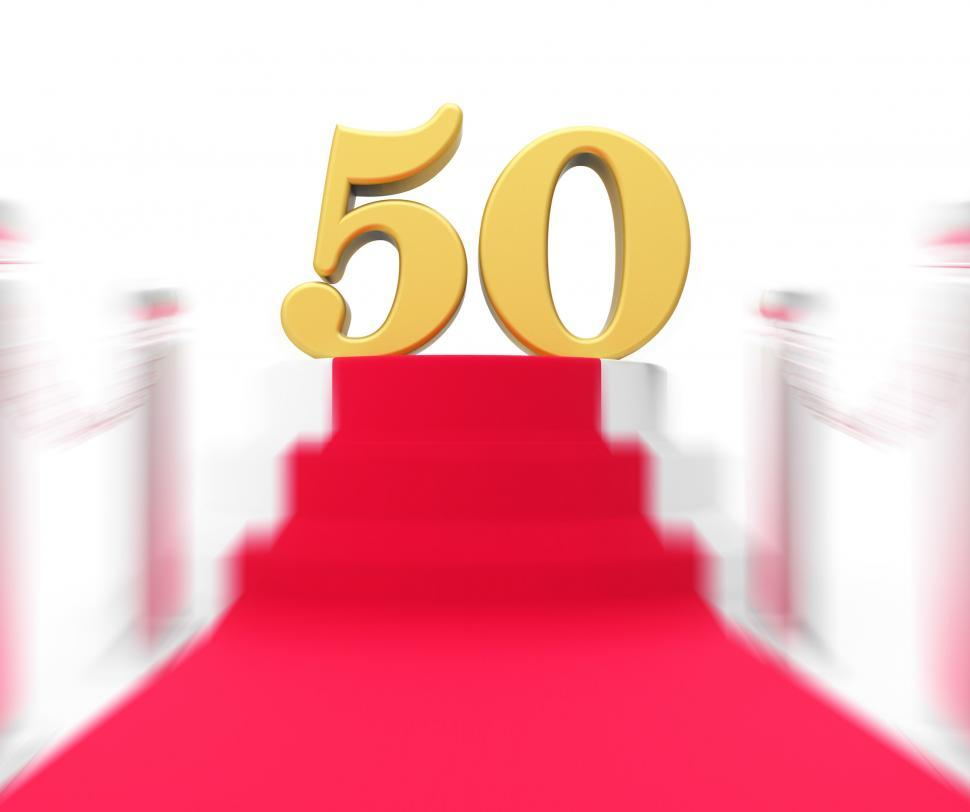 Download Free Stock HD Photo of Golden Fifty On Red Carpet Displays Fiftieth Cinema Anniversary  Online