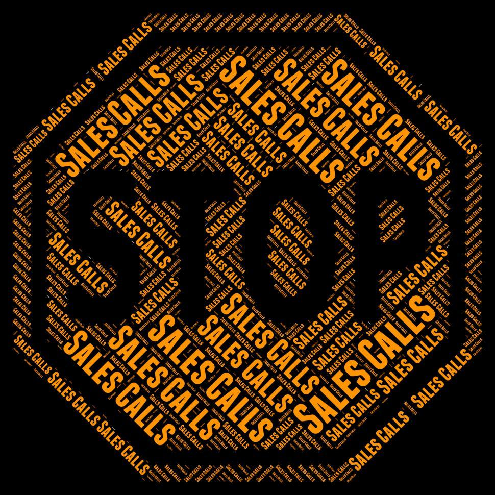 Download Free Stock HD Photo of Stop Sales Calls Shows Warning Sign And Commerce Online
