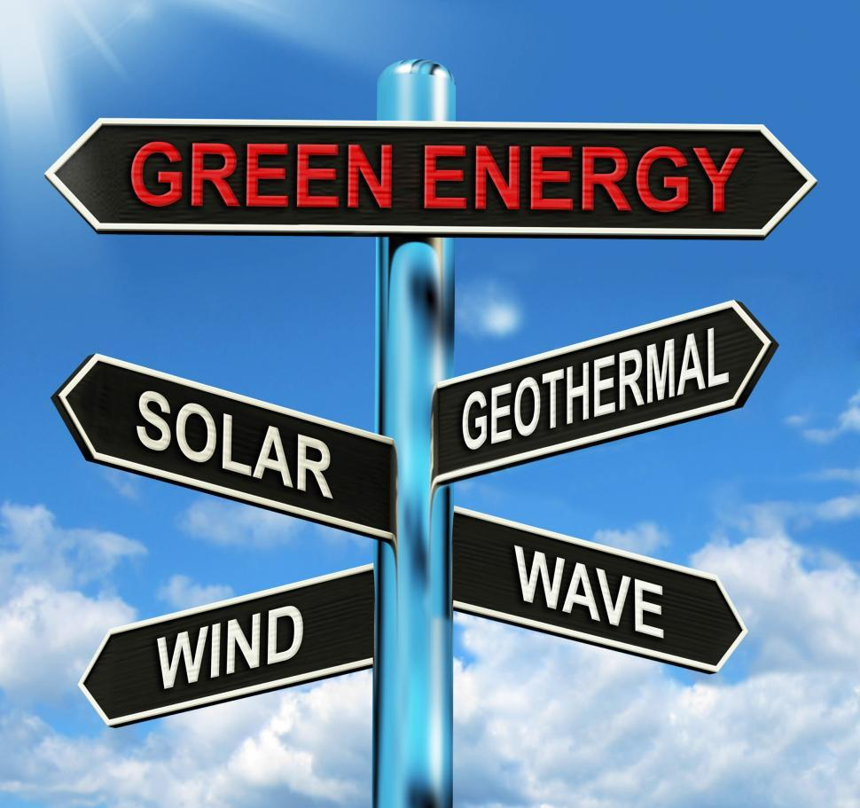 Download Free Stock HD Photo of Green Energy Signpost Means Solar Wind Geothermal And Wave Online