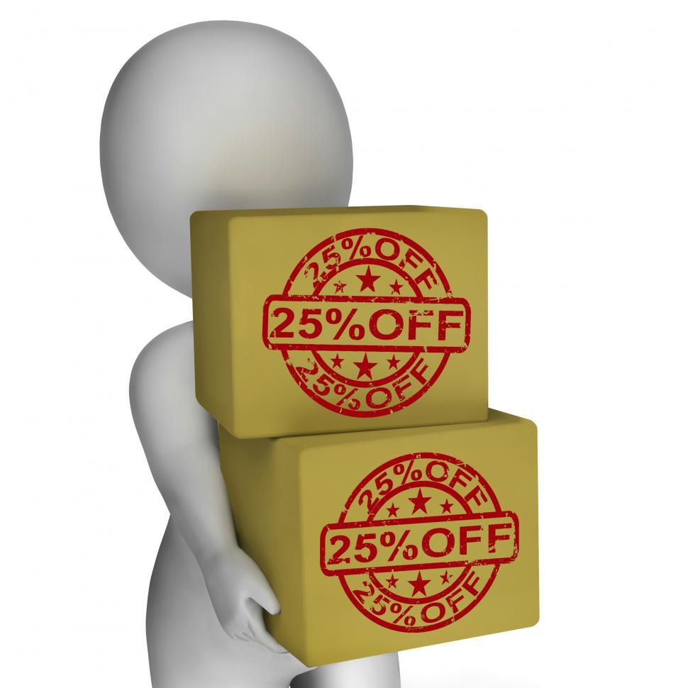 Download Free Stock HD Photo of Twenty Five Percent Off Boxes Show 25  Price Markdown Online