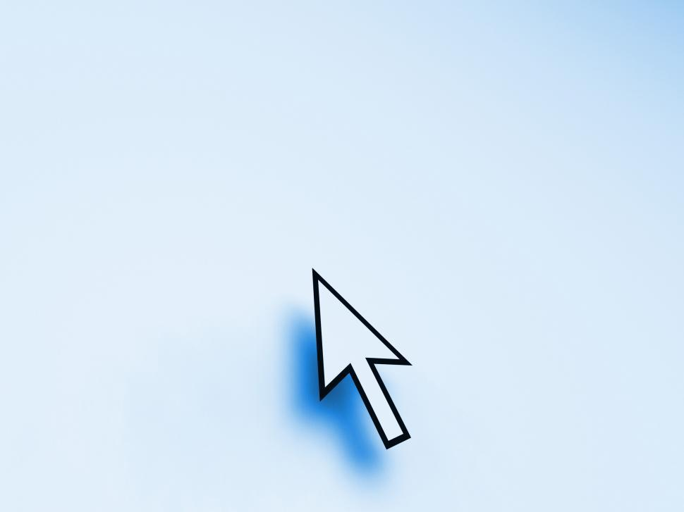 Download Free Stock HD Photo of Mouse Pointer On Blue Background Shows Blank Copyspace Website Online