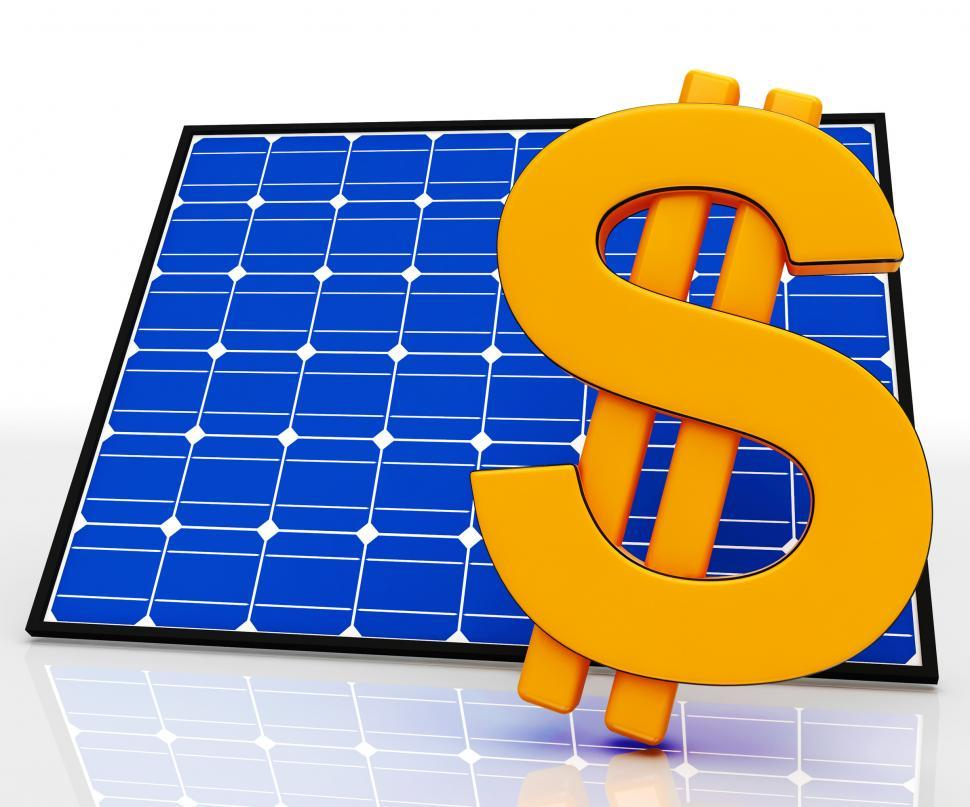 Download Free Stock HD Photo of Solar Panel And Dollar Sign Shows Saving Energy Online