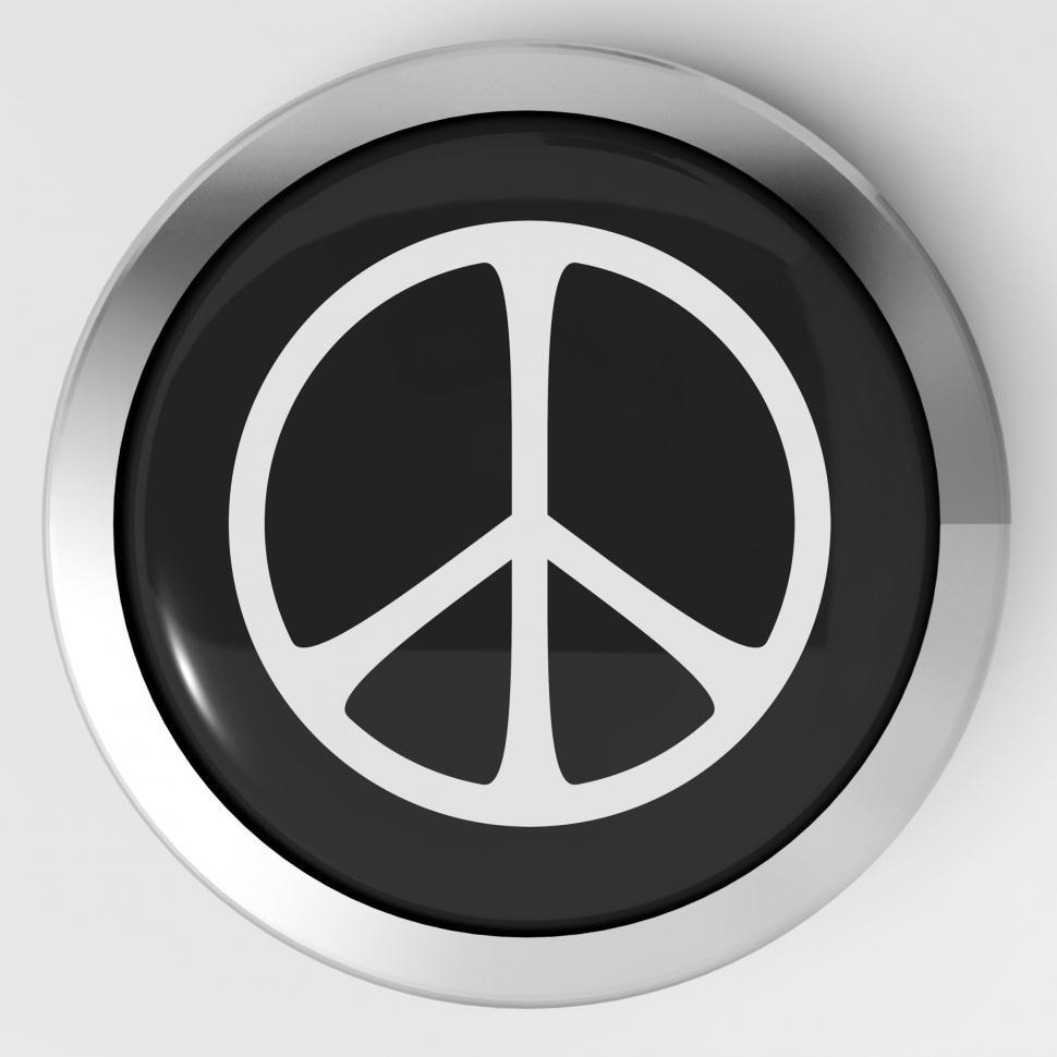 Get Free Stock Photos Of Peace Sign Button Shows Love Not War Online