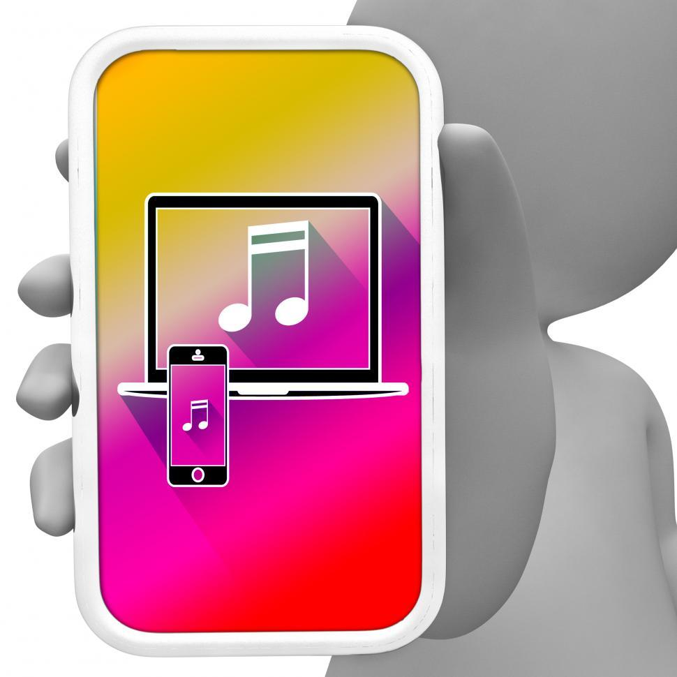 Download Free Stock HD Photo of Music Online Means Mobile Phone Soundtracks 3d Rendering Online